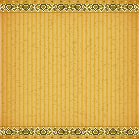 congratulate: Gold Lotus on orange card board texture for note or congratulate. Illustration