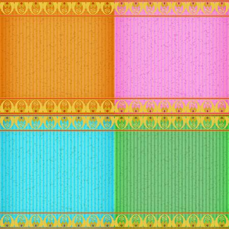 congratulate: Gold Thai new style card board texture for note or congratulate. Illustration