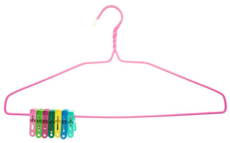 clamped: Colorful clothes Pegs clamped to pink hanger isolated with white  Stock Photo