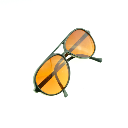 Black sunglasses for protection sun ray fold isolated with white background. photo
