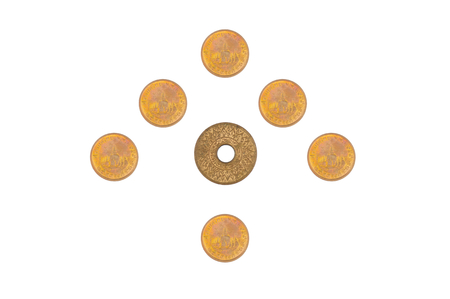 Old ancient and present coin of Thailand place as arrow isolated with white background. photo