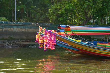 long tailed boat: Colorful long tailed boat for tourism in Chaopraya river Thailand