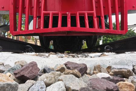 diesel train: Red bumper of diesel train with railway in transportation vintage style.