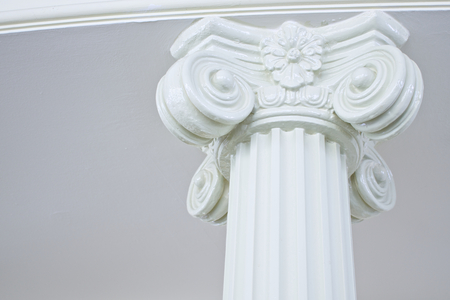 roman pillar: Close up white pillar like greek roman in vintage style. Stock Photo