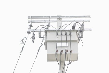 power transformer: Electrical power transformer and cable on pole isolated with white background.