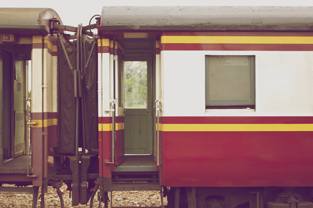 bogie: Red and white bogie of train connect together in vintage style.