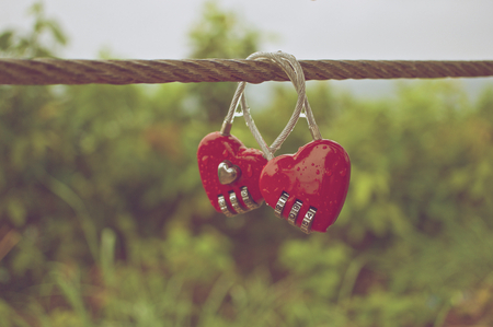 couple in rain: Couple of red padlock with water drop at wire rope in vintage style.