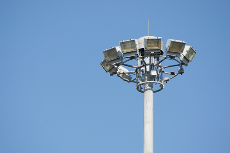 super highway: Lamps on high pole at super highway with blue sky. Stock Photo
