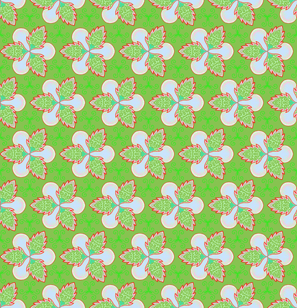 Green flower and ivy on green background is seamless patterns can be used for wallpaper pattern fills and background. Green and red Christmas theme. Stock Photo