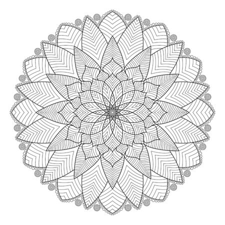Circular pattern of mandala with floral and leaves coloring book for meditation relax style. Çizim