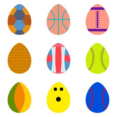 Set of easter eggs with colorful texture of sport ball on a white background use for happy easter in spring holiday vector illustration. Çizim