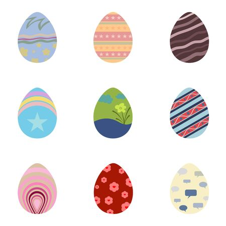 Set of easter eggs with colorful texture on a white background use for happy easter in spring holiday vector illustration.