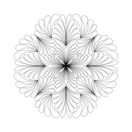 Water drop pattern of mandala with floral coloring book for meditation relax style.