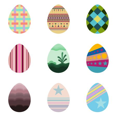 Set of easter eggs with beautiful texture on a white background use for happy easter in spring holiday vector illustration.