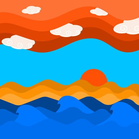 Sea wave and cloud on sky with sunset background, sky and sea scape texture vector illustration and copy space. Çizim