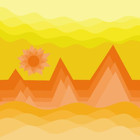 Desert wave and sun with sky background, landscape texture vector illustration and copy space.