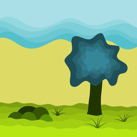 Big tree in meadow wave and sky background, landscape texture vector illustration and copy space. Çizim