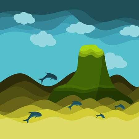 Big mountain in ocean with dolphin and sky with cloud background, seascape texture vector illustration and copy space.