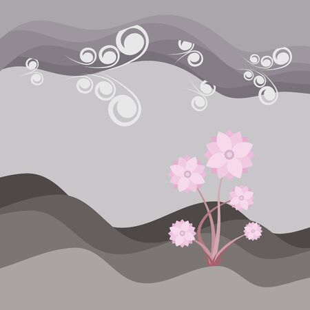 Beautiful pink flower on soil and sky with cloud background, landscape texture vector illustration and copy space.