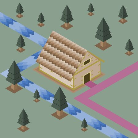 Big house in forest of pine with stream on green background, isometric vector illustration and copy space. Çizim