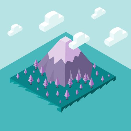 Snow on purple mountain in forest of pine on island in sea and sky with cloud as background, isometric vector illustration and copy space.
