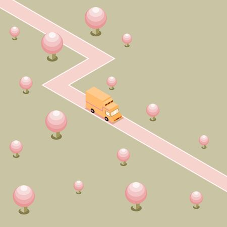 Orange refrigerated truck is delivering by country road in forest of pink sphere tree on green background, isometric transport vector illustration and copy space.