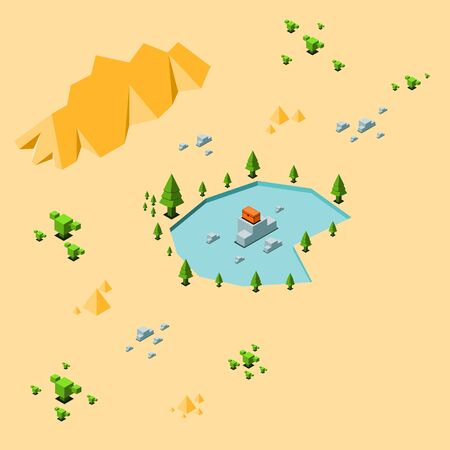 Orange treasure chest on stone in oasis with tree around have cactus and rock at the desert as background, isometric vector illustration and copy space. Çizim