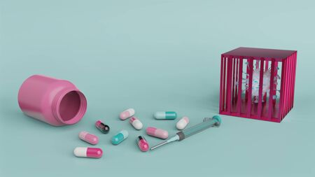 Syringe and medicine capsule with empty pink bottle and cell of covid 19 or corona virus in red cage on blue background with copy space 3D render. Healthcare and medical concept.