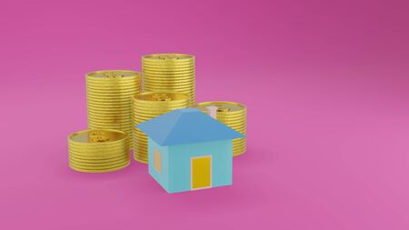Blue house and pile of gold coins on violet background with copy space. Business and finance concept 3D render.