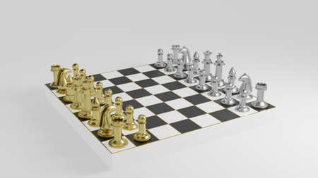 Golden and silver chess pieces on black and white board with gold striped on white background and copy space 3d rendering. Stok Fotoğraf