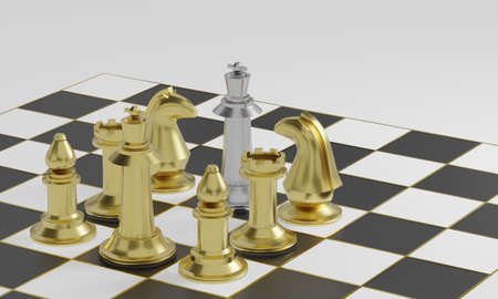 Golden chess pieces blockade silver chess piece on black and white board with gold striped on white background and copy space 3d rendering. Stok Fotoğraf