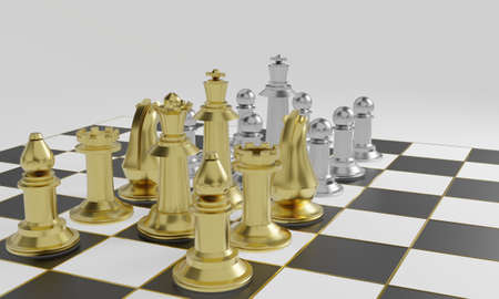 Golden chess pieces more powerful than silver chess pieces on black and white board with gold striped on white background and copy space 3d rendering.
