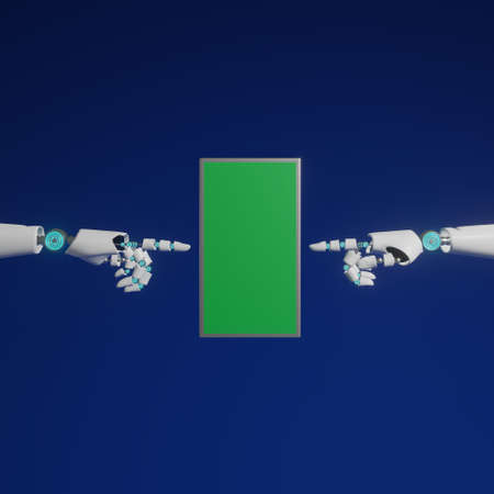 Hands of android are pointing to mobile phone with green screen on blue background and copy space 3d rendering.