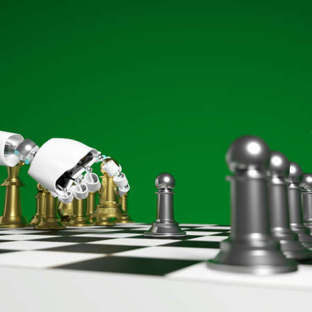 Hand of  pick golden pawn is deciding to play chess with green screen background and copy space 3d rendering.