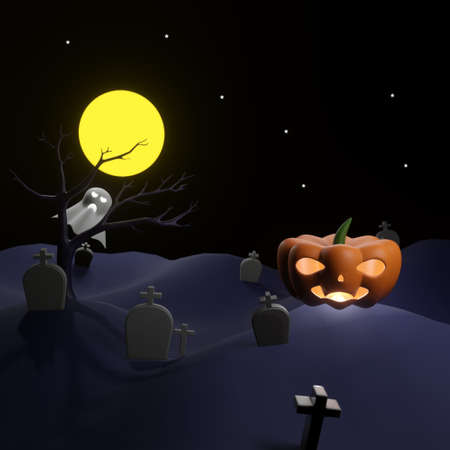 Orange pumpkin with light on land of graveyard have blur ghost behind dead tree with full moon Stok Fotoğraf
