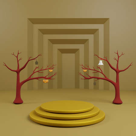 Golden podium or stage background for show product have dead tree decorated with pumpkin, gravestone and ghost with step of gold background and copy space 3d render.