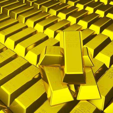 Pile of fine gold bar 999.9 g place on stack of golden bar as background 3d render and copy space. Financial wealth concept illustration.