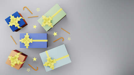 Colorful gift box with golden ribbon and gold star with candy on gray background with copy space 3d render. Happy new year and congratulation concept style.