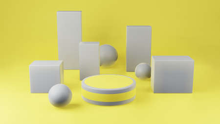 Yellow cylinder podium with gray girdle or stage background for show product with gray sphere and cube on yellow background and copy space 3d render.