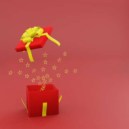 Open red gift box with golden ribbon and spread gold star on red background with copy space 3d render. Happy chinese new year and congratulation concept style. Stok Fotoğraf