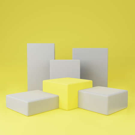 Yellow cube podium between gray or stage background for show product with gray cube on yellow background and copy space 3d render. Stok Fotoğraf