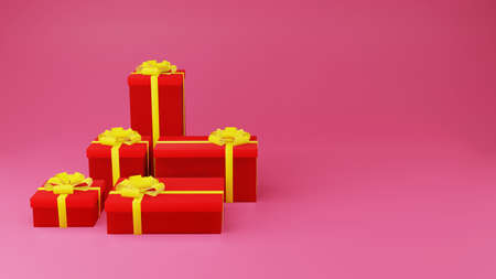 Red gift box with golden ribbon on pink background with copy space 3d render. Happy Chinese new year and congratulation concept style.