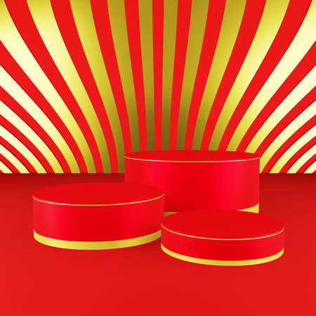 Red cylinder podium with golden girdle or stage background for show product with red and gold background and copy space 3d render. Chinese new year season concept.
