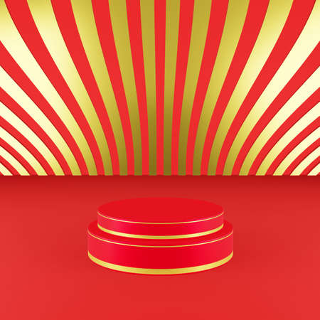 Red podium with golden girdle or stage background for show product with red and gold background and copy space 3d render. Chinese new year season concept. Stok Fotoğraf
