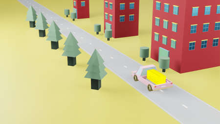 Truck transport stack fine gold bar on road have green tree on left and red building on right with yellow background and copy space 3d render.