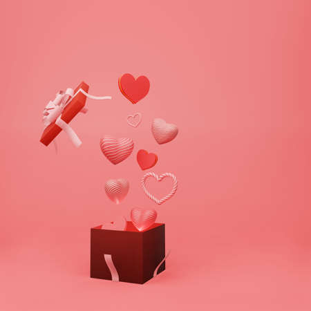 Beautiful heart sharp float from open gift box with ribbon on red background with copy space 3d render. Happy valentine day and congratulation concept style.