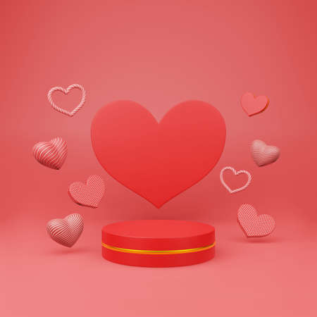 Red podium with golden girdle or stage background for show product and beautiful heart sharp floating stack on red background with copy space 3d render. Happy valentine day concept style. Stok Fotoğraf