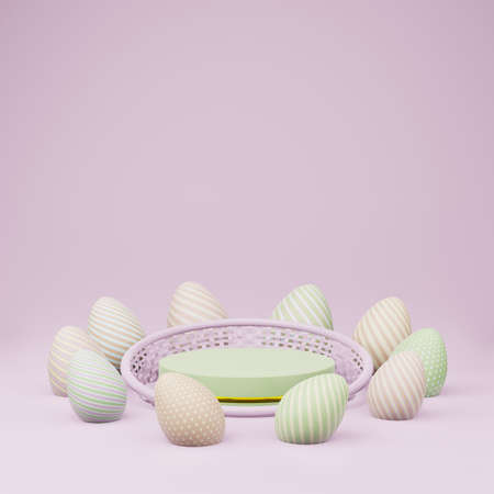 Green cylinder podium with golden girdle or stage background for show product with basket and easter eggs on purple background and copy space 3d render. Stok Fotoğraf