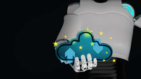 Blue glass cloud on hand of cyborg with yellow star have blur body of android robot on dark blue background and copy space 3d render. Cloud computing upload and download data automatic ai concept.