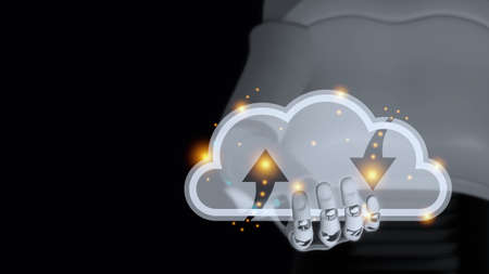 Hand of cyborg is holding transparent glass cloud with orange light have blur body of android robot on black background and copy space 3d render. Cloud computing upload and download data automatic ai concept. Stok Fotoğraf
